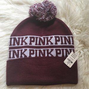 Pink Victoria's Secret maroon beanie hat NWT